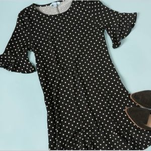 She and Sky Dresses - Polka dot knit ruffled dress from Golden Tote